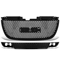 DNAMW GRF-051+053-BK Black Front Upper and Lower Bumper Grille Guard (For 07-12 GMC Yukon)