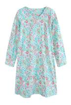 CHUNG Women's Cotton Nightgowns Long Sleeve Crew Neck Lovely Print Sleep Dress