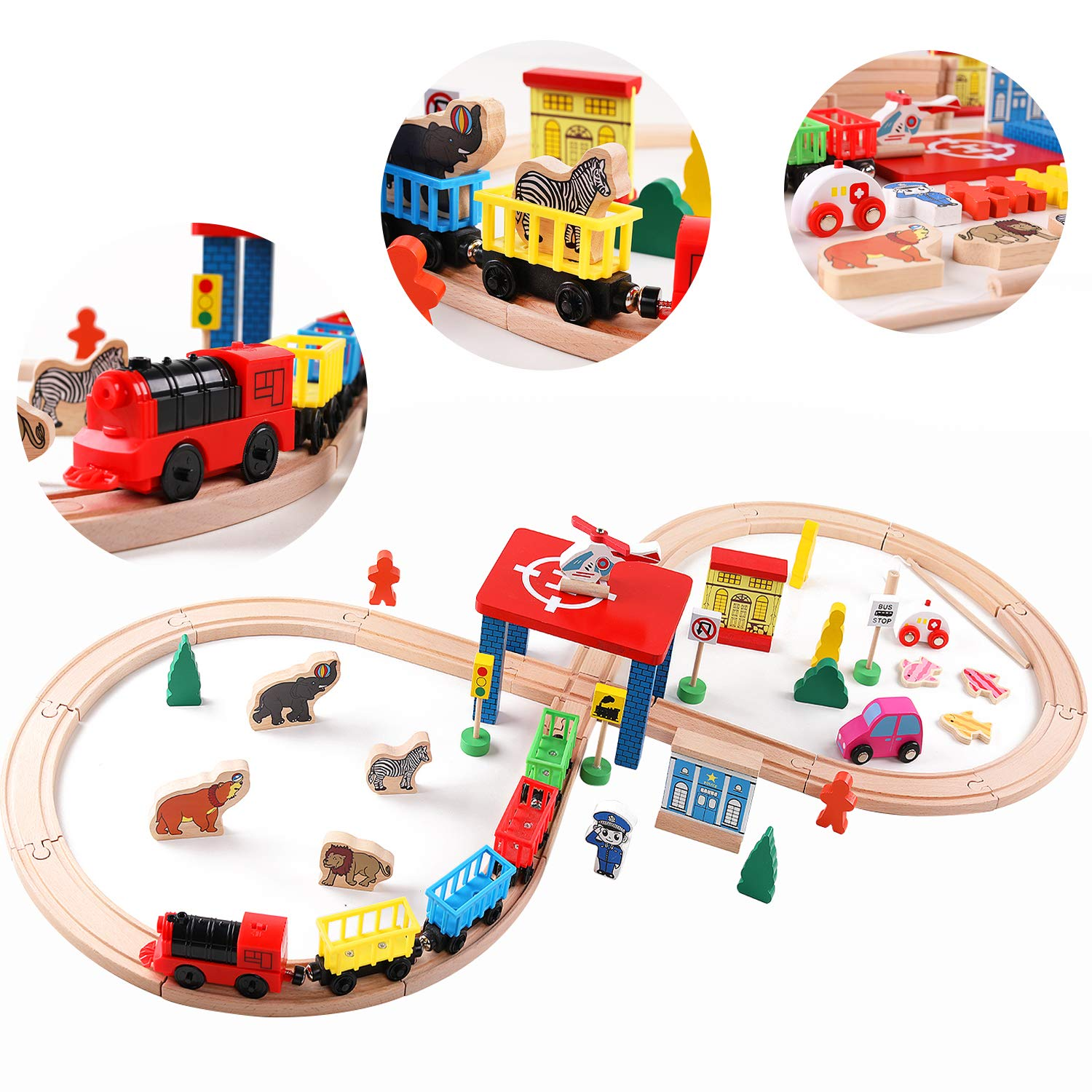 Wood Toy Train Set, QZM 55 Pieces Deluxe Train Tracks Sets for Toddler Fits Thomas&Brio, Chuggington&Imaginarium Kids Building Toys, Magnetic Accessories for Fishing, Best Gift for Boys Girls