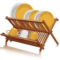 Bamboo Dish Drying Rack Foldable, Collapsible Wood Kitchen Folding Plate Holder Organizer with 21 Slots by Pipishell
