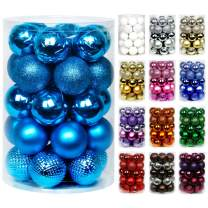 """Super Holiday 34ct Christmas Ball Ornaments, 1.57"""" Small Shatterproof Christmas Tree Decorations, Perfect Hanging Ball for Holiday Wedding Party Decoration (Laker Blue)"""