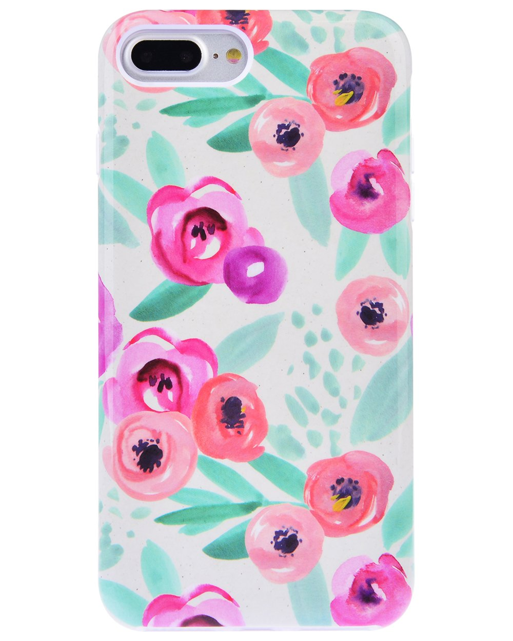 """Dimaka Case for iPhone 7 Plus Case, Cute Cartoon Rose Floral Flower Print Pattern Protective Bumper for Girls, [Drop Proof][360 Full Cover][Retro Design] for iPhone 8 Plus 5.5"""" (124)"""