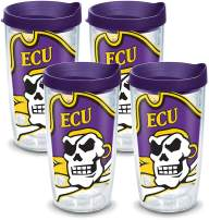 Tervis East Carolina Pirates Mascot Colossal Tumbler with Wrap and Royal Purple Lid 4 Pack 16oz, Clear