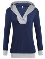 Beyove Women's Cowl Neck Casual Long Sleeve Hoodie Pullover Sweatshirt with Kangaroo Pocket