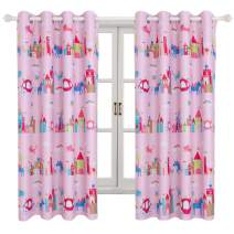 BGment Blackout Girls Curtains - Grommet Thermal Insulated Room Darkening Printed Animal Castle Patterns Nursery and Kids Bedroom Curtains, Set of 2 Curtain Panels (52 x 84 Inch, Baby Pink)