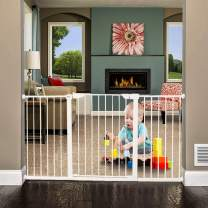 """ALLAIBB Walk Through Baby Gate Auto Close Tension White Metal Child Pet Safety Gates with Pressure Mount for Stairs,Doorways and Baniste with Extensions Size 65.35""""-68.11"""" (White)"""