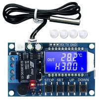 Icstation Micro Digital Temperature Controller Switch Module, 12V DC -50℃ to +110℃ Thermostat Board, Cooling Heating with NTC Waterproof Sensor Probe UART LCD Display