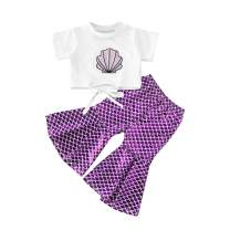 Baby Girls Mermaid Outfits Shell Short Sleeve T Shirt Top+Fish Scale Bell Bottom Pant 2Pcs Summer Outfits Sets