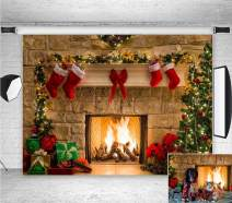 9x6ft Fireplace Holiday Photography Backdrop Photo Booths Studio Props Vinyl Christmas Stocking Tree Photo Background Winter Xmas Birthday Party Decorations Baby Shower Supplies