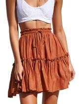 LYCHIC Womens Summer Flowy Tiered Ruffle Mini Skirt Cute High Waist Beach Boho Floral Polka Dot Short Skirts