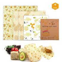 Meowoo Beeswax Food Wrap 4 Pack, Eco Friendly Reusable Beeswax Wraps for Sandwich Cheese Fruits, Plastic Free Organic Food Wrap - 1 Small, 2 Medium, 1 Large