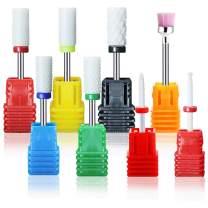 "UNIBOUTI Ceramic Nail Drill Bits Set, 8 PCS 3/32"" (2.35mm) Safety Nail Drill Bits Remove Acrylic Polygel Nails Dip Powder Calluses Cuticle Clean Manicure Pedicure Nail File Machine Drill Bits Set (#3)"