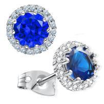 Gagafeel Stud Earrings Birthstone Round 8mm Rhinestone Hypoallergenic CZ Earrings Gift for Women Girl