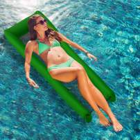 Lixada Inflatable Floats Water Hammock for Adults 440lb Capacity Pool Float Swimming Pool Lounger No Pump Needed with Compact Carry Bag