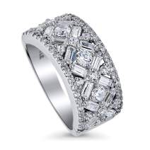 BERRICLE Rhodium Plated Sterling Silver Cubic Zirconia CZ Statement Art Deco Bar Cocktail Fashion Right Hand Ring