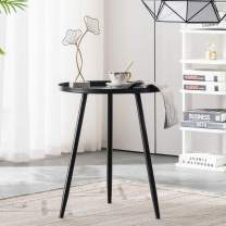 """APICIZON 16"""" Round Side Table, Bedside End Table with Pure Metal Material, Coffee or Nightstand Table for Living Room, Bedroom, Small Spaces (Black)"""