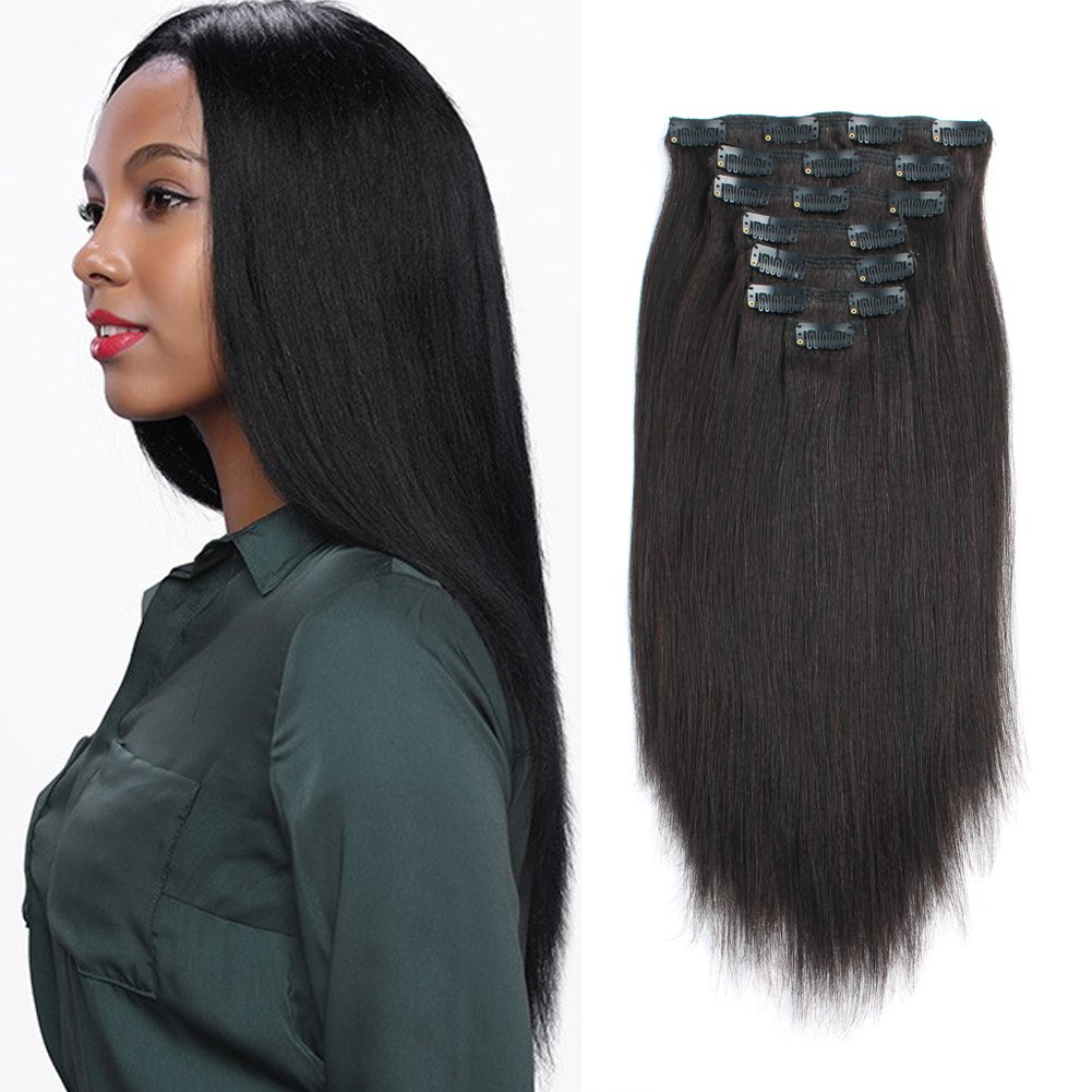 ABH AmazingBeauty Hair Real Remy Yaky Black Human Hair Hair Clip On for African American Relaxed Hair 7 Pieces 120 Gram Per Set, 20 Inch
