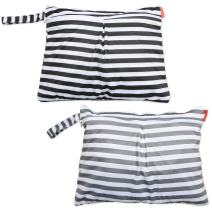 Damero 2pcs Travel Wet and Dry Bag with Handle for Cloth Diaper, Pumping Parts, Clothes, Swimsuit and More, Easy to Grab and Go (Small, Gray Srips+ Black Strips)