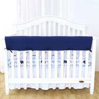 """TILLYOU 1-Pack Padded Baby Crib Rail Cover Protector Safe Teething Guard Wrap for Long Front Crib Rails(Measuring Up to 18"""" Around), 100% Silky Soft Microfiber Polyester, Reversible, Navy/Pale Gray"""