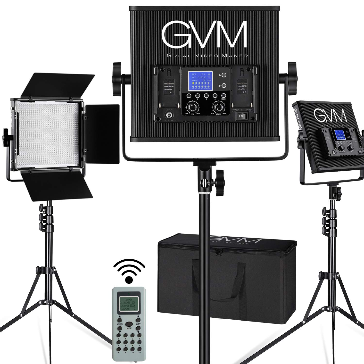 GVM LED Video Light Dimmable Bi-Color Aluminum Alloy Body with Wireless Controller for Studio, YouTube Video Photography, 896S-B3L