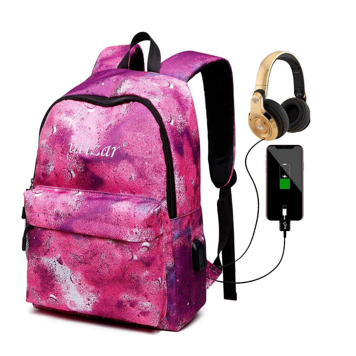 Utizar School Laptop Backpack with Charging Port, Starry Red