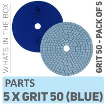 Stadea PPW240D Concrete Polishing Pads 5 Inch Grit 50 - Diamond Pads For Concrete Terrazzo Marble Floor Counter Wet Polishing - Pack of 5