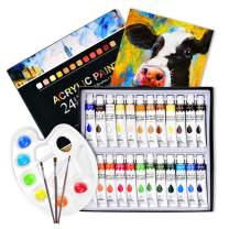 TOPELEK 29pcs Acrylic Paint Set, 24 Colors, 3 Paintbrushes, 1 Palette, 1 Canvas,Perfect for Canvas, Wood, Ceramic, Fabric etc, Good Blending & Rich Pigments for Beginner, Professional, Students
