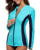 V FOR CITY Women's Rash Guard Swim Shirts Zipper Long Sleeve Swimsuit Top UPF 50+ UV Protection