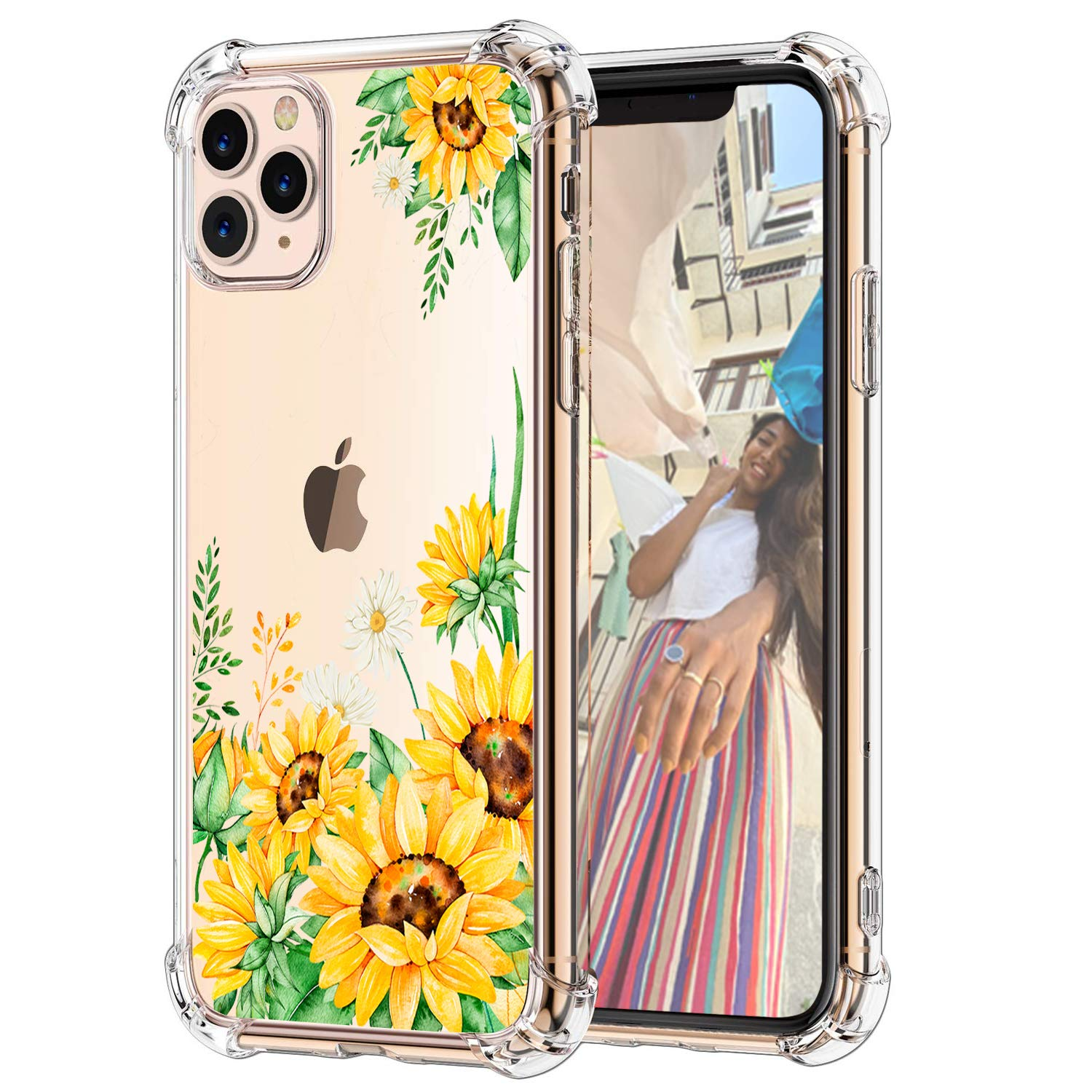 Hepix Sunflowers iPhone 11 Pro Cases Flowers Clear 11 Pro Cases, Flexible Soft TPU Protective Phone Cover with 4 Cushion Corners Shock Absorbing Anti-Scratch Raised Bezel Protetction