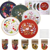 FINGOOO 5 Pack Embroidery Starter Kit with Pattern, 5 Bamboo Embroidery Hoops DIY for Adult Beginner