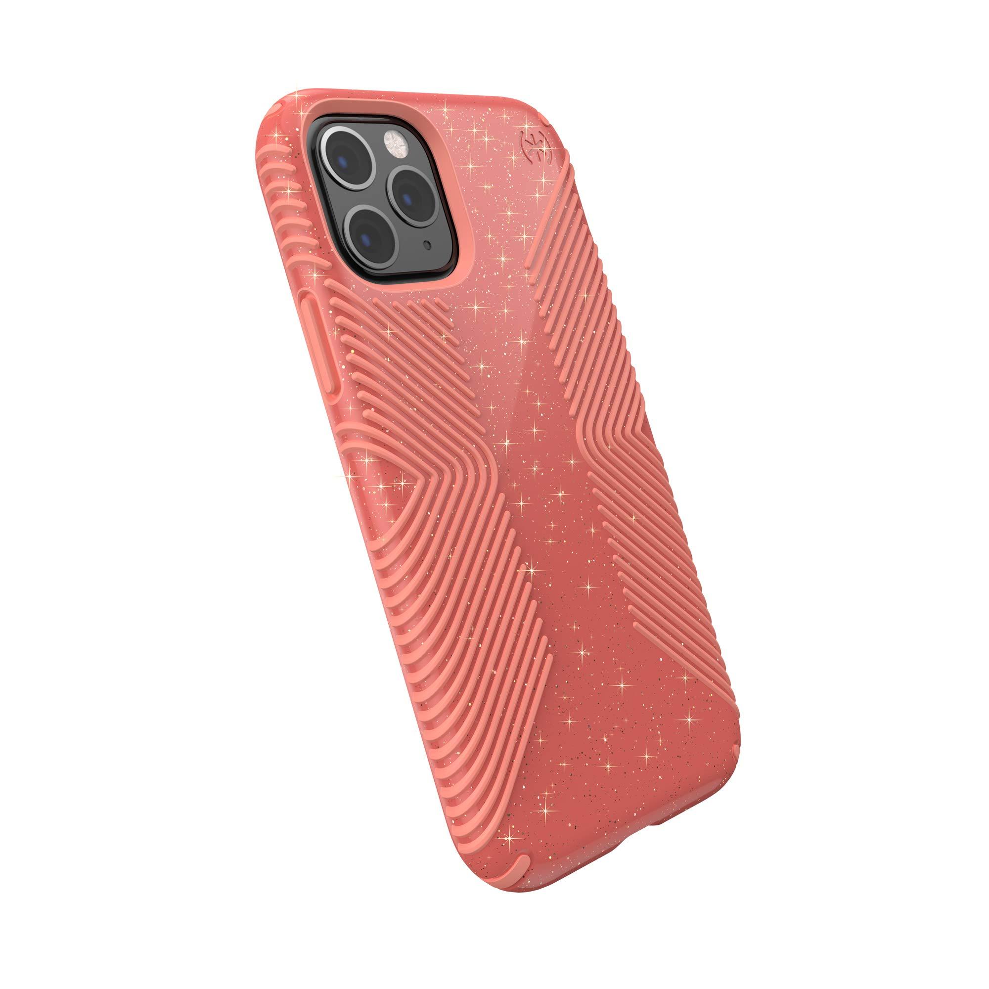 Speck Products Presidio Grip + Glitter iPhone 11 Pro Case, Lilypink Glitter/Papaya Pink