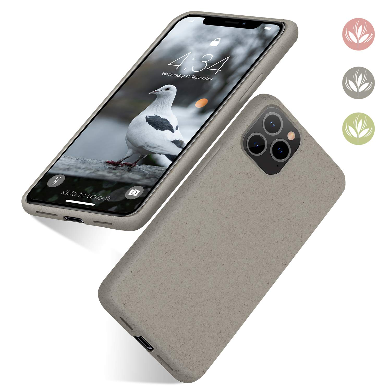 """abitku Eco-Friendly Phone Case iPhone 11 Pro, Biodegradable Slim Fit Straw Phone Cases Soft Protective Back Cover for iPhone 11 Pro 5.8"""" (2019)(Gray)"""