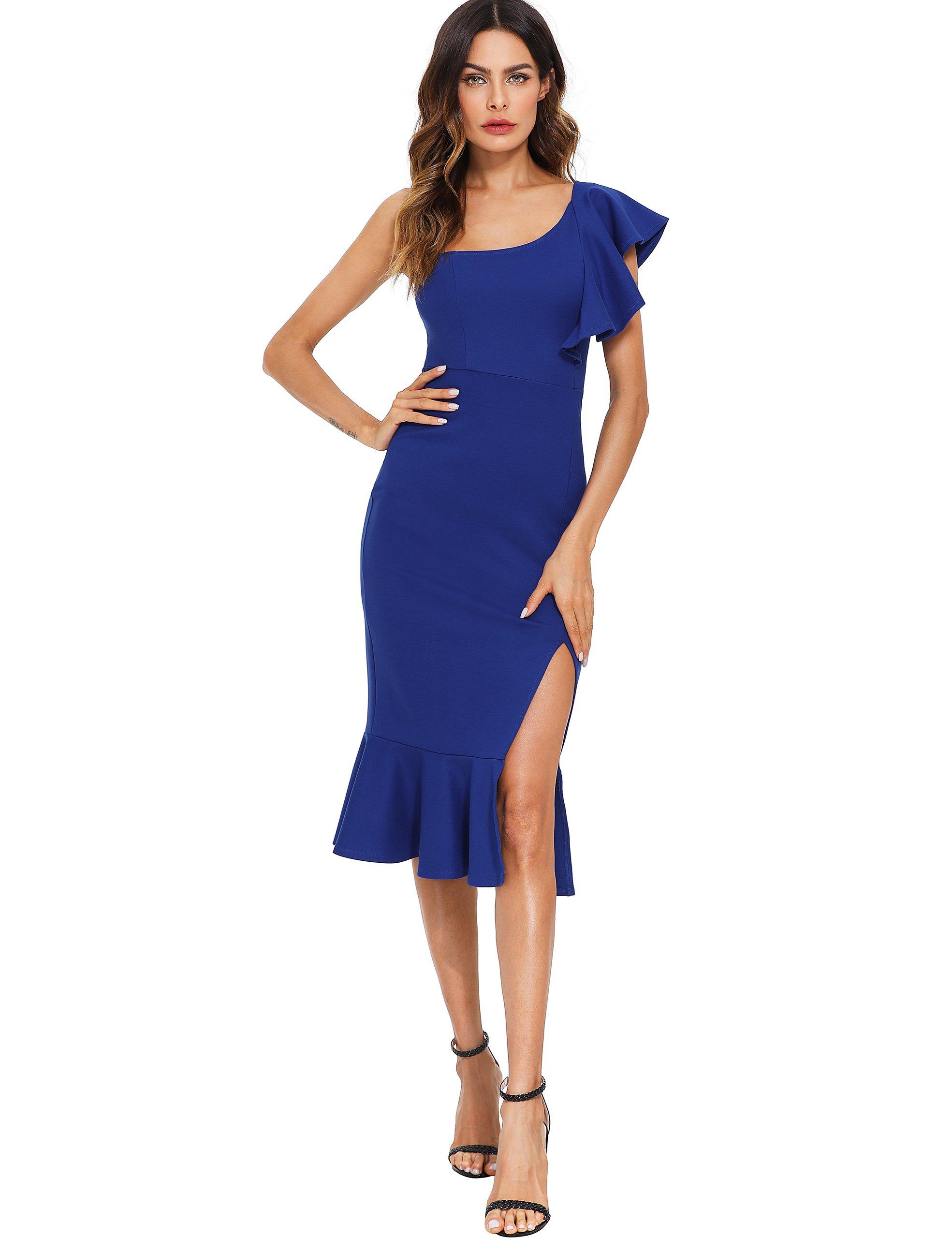 Floerns Women's Ruffle One Shoulder Split Midi Party Bodycon Dress Blue L