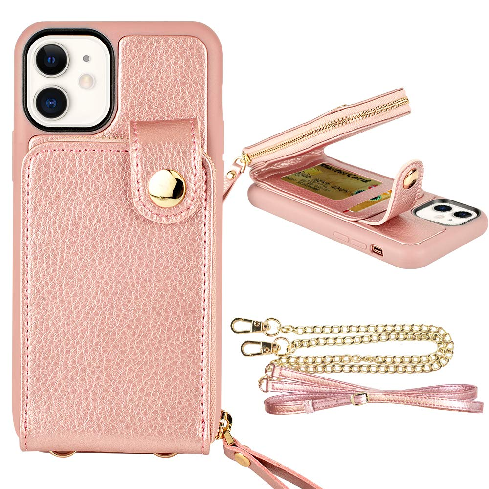 """ZVE iPhone 11 (6.1"""", 2019) Wallet Case, Case for iPhone 11, Zipper Wallet Case with Credit Card Holder Slot Wrist Strap and Adjustable Crossbody Strap Case for iPhone 11 6.1 inch-Rose Gold"""