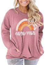 Plus Size Good Vibes Shirt Womens Graphic Tees Rainbow Tshirt Tunic Tops with Pockets