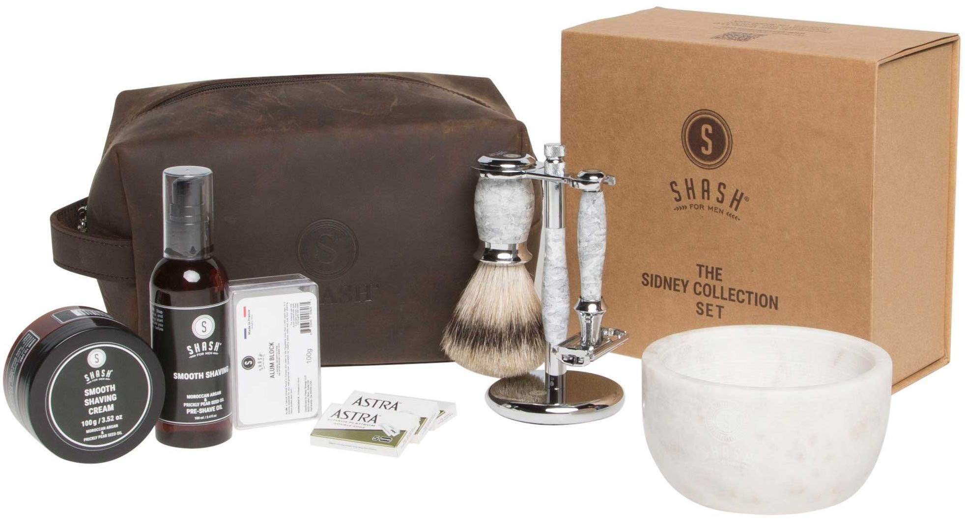 SHASH Sidney Collection Shaving kit, Shaving set White - Includes Butterfly Razor, Best Badger Brush, Stand, Pre-Shave Oil, Shaving Cream, and Double Edged Blades - Premium Quality Brass and Chrome