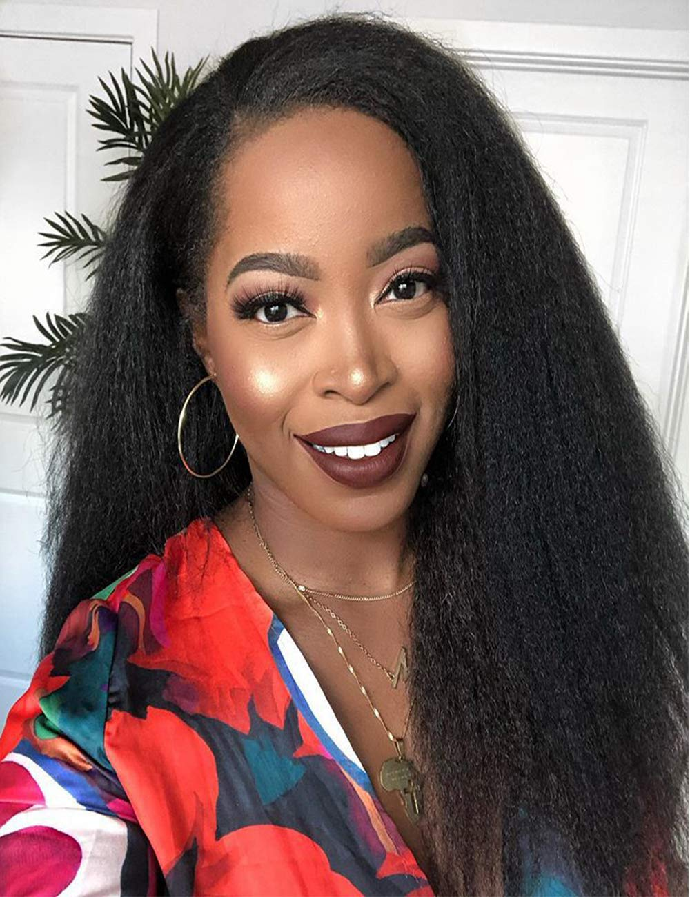 Chantiche Natural Looking Italian Yaki Lace Front Wigs Best Brazilian Remy Human Hair Wigs with Baby Hair for African Americans 130 Density 20 Inch Natural Color