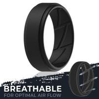 ThunderFit Silicone Wedding Rings for Men Breathable Airflow Inner Grooves - 7 Rings / 4 Rings / 1 Ring Step Edge Sleek Design Breathable Rubber Engagement Bands - 8mm wide - 2mm Thick