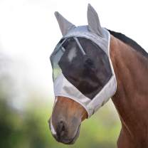 Harrison Howard CareMaster Horse Fly Mask Standard with Ears UV Protection for Horse Silver/Black Retro
