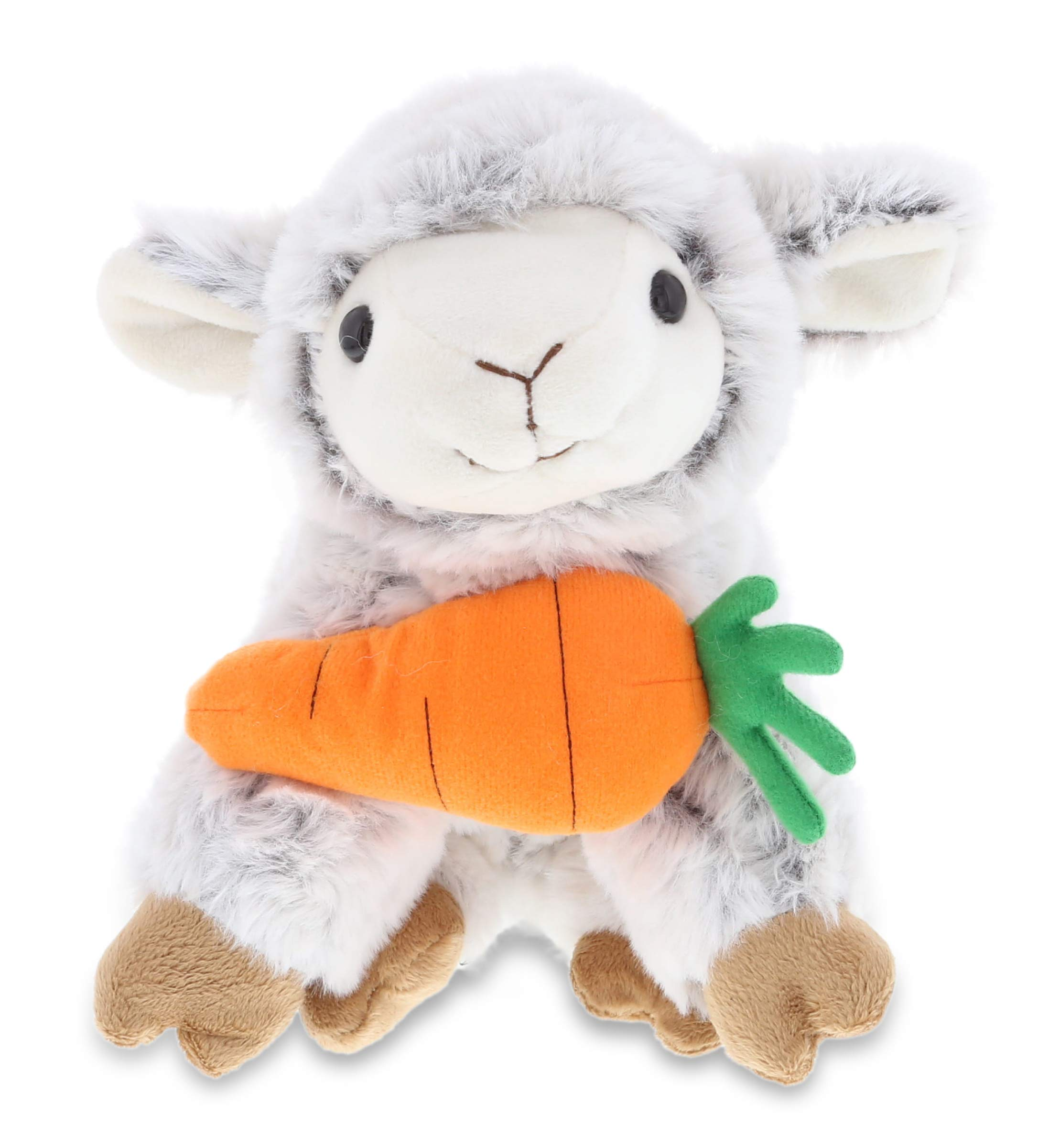 "DolliBu Happy Easter Super Soft Plush Squat Sheep with Carrot - Cute Stuffed Animals with Carrot Plush Toy, Perfect Easter Holiday Surprise Gift, Spring Easter Farm Plush Animal - 9.5"" Inches"