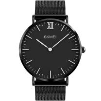 Men's Simple Analog Quartz Watch, Aposon Unique Luxury Dress Wrist Watch Thin Minimalism Business Casual Watch with Stainless Steel Mesh Band Water Resistant - Black
