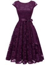 BeryLove Women's Floral Lace Short Bridesmaid Dress Cap-Sleeve Wedding Formal Party Dress