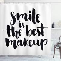"""Ambesonne Saying Shower Curtain, Smile is The Best Makeup Inspirational Phrase Hand Written Daily Motivations, Cloth Fabric Bathroom Decor Set with Hooks, 84"""" Long Extra, Black and White"""