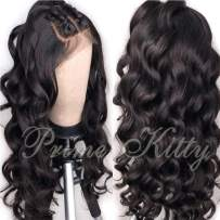 """Curly Human Hair Lace Front Wigs Pre Plucked Virgin Brazilian Human Hair Wigs for Black Women Body Wave Glueless Lace Front Wig with Baby Hair Human Hair Wig Wet and Wavy 130% Density 14"""""""