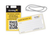 Dynotag Web Enabled Smart Fashion Luggage ID Tags, with DynoIQ & Lifetime Recovery Service. 2 Identical Tags+Chains (Bumblebee)