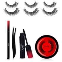 False Eyelashes and Eyeliner Kit - No Glue Non-Magnetic Fake Eyelashes Set, Reusable Weatherproof False Eyelashes 3 Pairs with Liquid Eyeliner, Mascara and Tweezers (Morphling, 6-14mm)