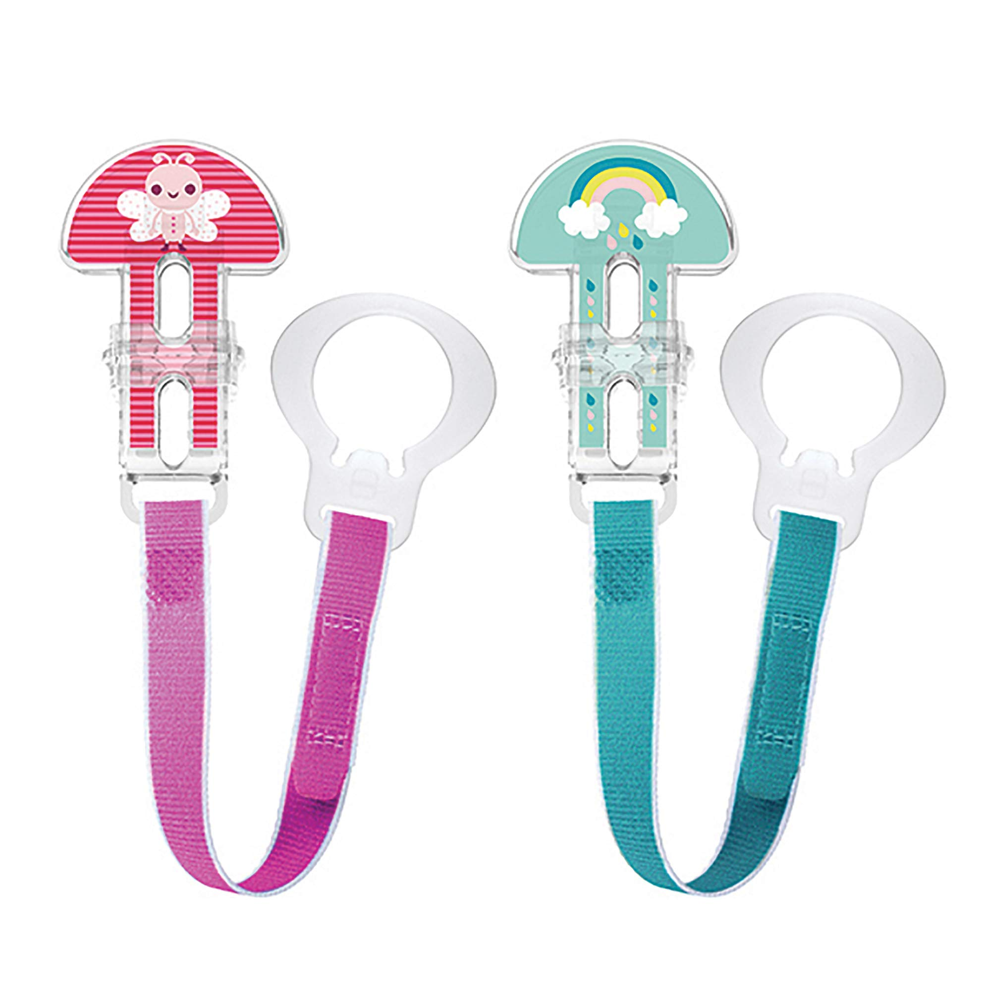 MAM Pacifier Clips, Baby Pacifier Clip, Double Clips, Girl, 2-Count, Designs May Vary