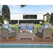 JOIVI Patio Furniture Set, 5 Piece PE Rattan Sectional Outdoor Conversation Sofa Set with Gray Wicker, Tempered Glass Coffee Table, Grey Cushion