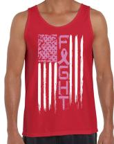 Awkward Styles Fight Tank Tops for Men Breast Cancer Awareness Tank USA Flag Pink Ribbon