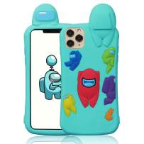 """Oqplog Case for iPhone 12 Pro Max Cartoon Cute 3D Kawaii Fun Blue Amongs Kids Design Soft Silicone Cover,Unique Cool Funny Fashion Character Cases for iPhone 12 Pro Max 6.7"""" Shell for Girls Boys Women"""